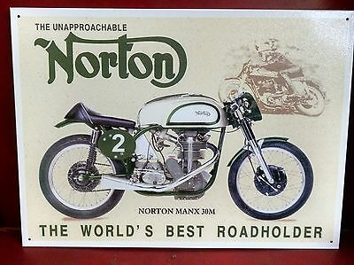 NORTON MANX 30M Motorcycle 20 year old Vintage Tin Sign Reproduction