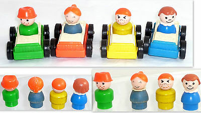 Vintage Fisher Price Little People Cars And Figures Lot  Fp46