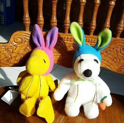 Easter Plush Stuffed Animal Doll Lot Snoopy and Woodstock