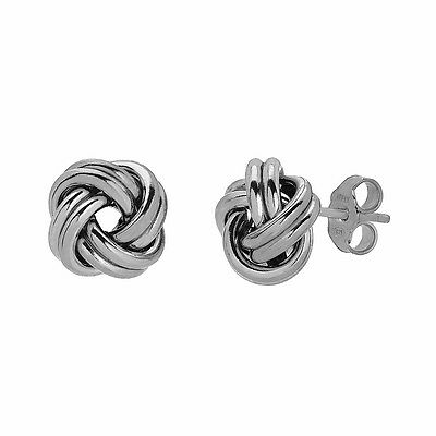 4cb47e131 925 Sterling Silver Love Knot Stud Earrings Rhodium Plated Made in Italy