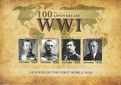 Guyana 2014 MNH WWI Leaders First World War 100th 4v M/S Tsar Nicholas II Stamps