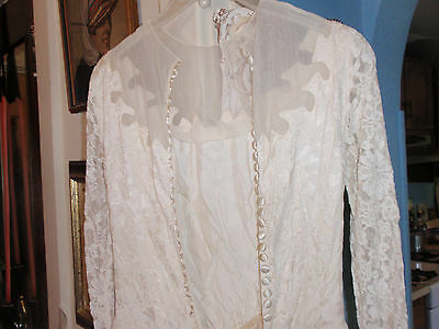 Vintage Chantilly Lace/silk Wedding Dress And Bonnet Early 1950's White/ivory