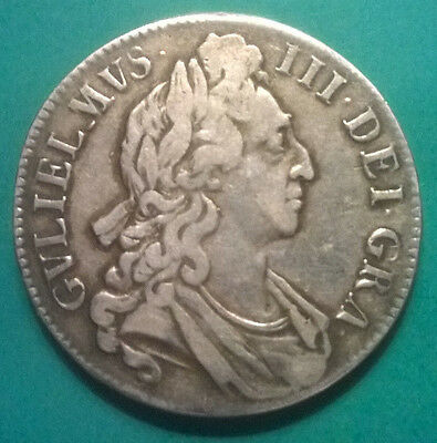 1696  William III OCTAVO edge silver Crown coin