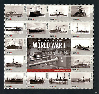 Guyana 2015 MNH Royal Navy Ships First World War I WWI 16v M/S II Boats Stamps