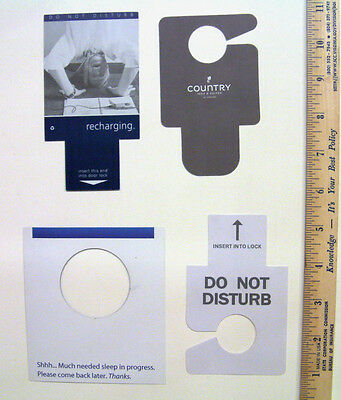 4 cards door signs inserts Do not disturb from different hotels