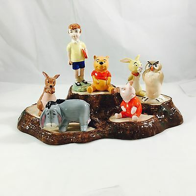 Vintage Winnie The Pooh Gold stamp Full Set With Stand, Beswick England