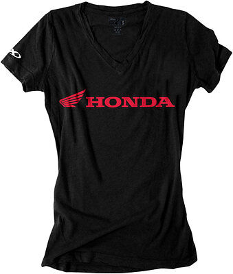 Factory Effex Official Licensed Women's HONDA Horizontal V-Neck T-Shirt (Blk) SM