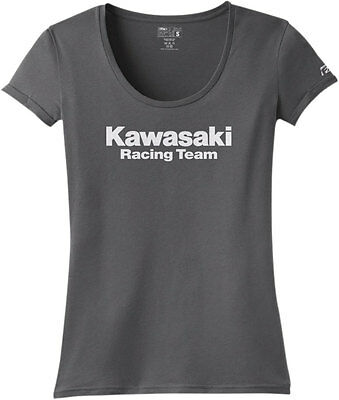 Factory Effex Official Licensed Women's KAWASAKI Racing T-Shirt (Charcoal) SM