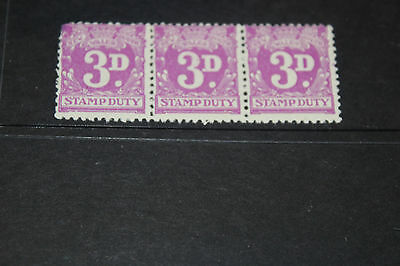 Aust New South Wales 3D Purple Stamp Duty Strip Of 3 Mint