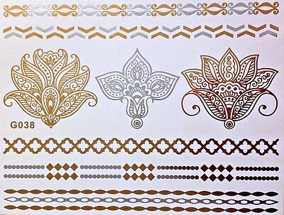 Tattoo Once Flash Adhesive Temporary Gold Silver 8 Parts Bracelet Body Chain G38