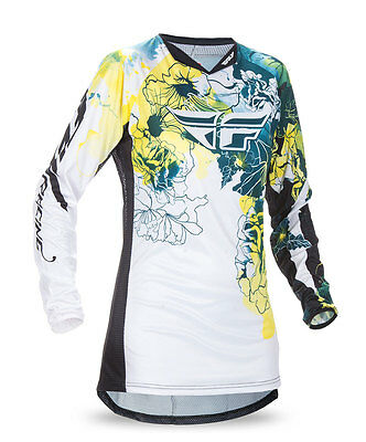 FLY RACING MX MTB BMX Girls 2017 Kinetic Jersey (Dark Teal/Yellow) Youth Large