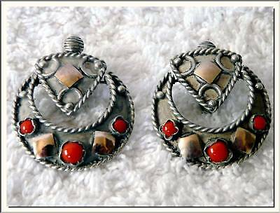 VICTORIAN PRISTINE SILVER - GOLD DROP EARRINGS c1900's .SEE MY STORE !!!