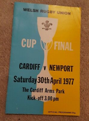 Cardiff v Newport cup final rugby programme 1977