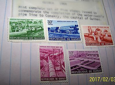 Guinea 1964 Postage Stamp Water Supply Line Conakry Set # 5 Pc Set Mnh Lot 44
