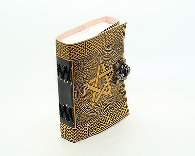 Yellow Pentagram Handmade Book Of Shadows Yellow Leather Journal Pentacle Wicca