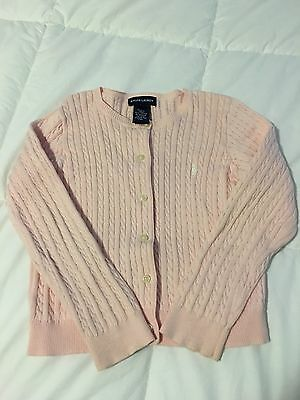 EUC Girls Polo Ralph Lauren Cable Knit Sweater Cardigan Pink Size 4/5