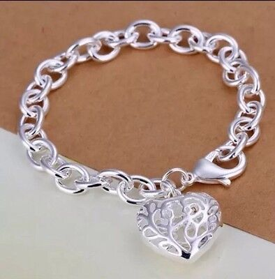 925 Silver Charm Bracelet -100% Genuine ( 8 Inches ) Free P&P