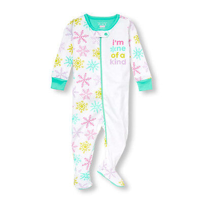 NWT The Children's Place Girls Snowflake Footed Cotton Sleeper Pajamas 5T