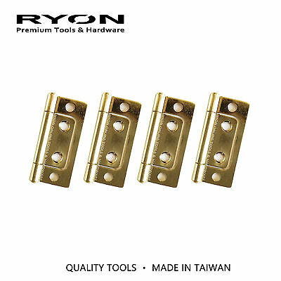 "Flush Hinge 50mm 2"" Brass Plated Cabinet Door Hardware Chest Jewelry Box"