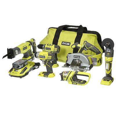 NEW Ryobi P884 One+Plus18V BatteryLithium Ion Ultimate Combo Kit 6-Tool/w lights