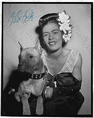 """Jazz Vocalist Legend Billie Holiday With Dog """"Mister""""1948 NYC Autograph Reprint"""