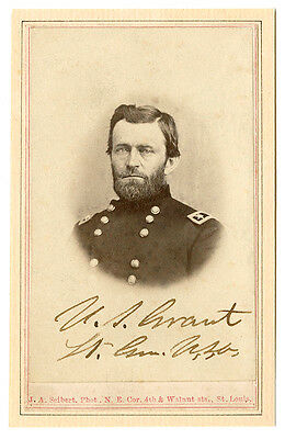 CIVIL WAR PHOTOGRAPH Ulysses S Grant w/Signature Cabinet Card CDV A++ Reprint