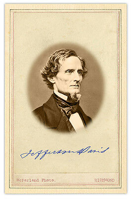 CIVIL WAR PHOTOGRAPH Jefferson Davis Photo & Signature CARD VINTAGE A++ Reprint