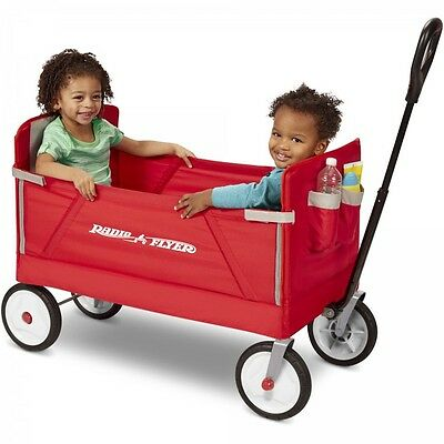 Fold Up Wagon With Seats 2 Rider Safety Straps Stroller Portable Durable Comfort