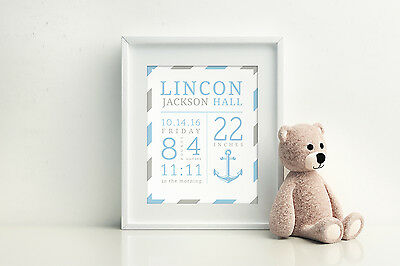 Personalized Birth Stat Nursery Art - Sailor Theme