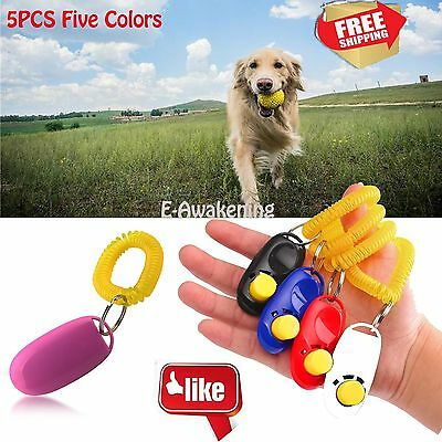 5PCS Dog Cat Puppy Training Clicker Button Click Trainer Obedience Aid Wrist Pet