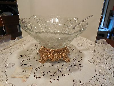 L E Smith Glass Co Pinwheel & Stars Punch Bowl on base & Metal Ladle - no cups