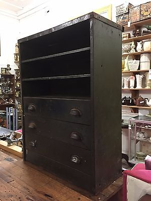 Old Rustic Metal Shelving Unit Storage Pigeon Hole Drawers for Tool nails Shelve