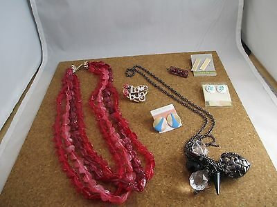 Jewelry Lot Vintage Lucite Necklace Modern Necklace Earrings Bug Brooch Pin