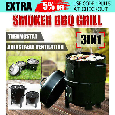 3in1 Outdoor Charcoal Smoker Portable BBQ Roaster Grill Steel Steamer Cooker NEW