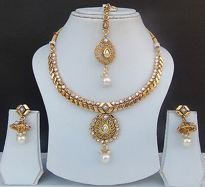 Ethnic Indian Jewelry Necklace Earrings Bollywood Gold Plated Bridal Saree Set