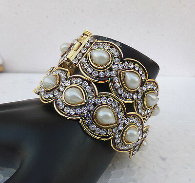 Indian Fashion Jewelry Bollywood Gold Plated Bangles Polki Ethnic Lockable 2.8