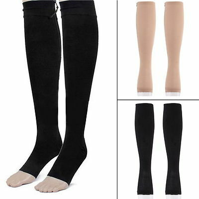 Zip Sox Compression Socks Zipper Leg Support Knee Stockings Open Toe S/M/XL hrd
