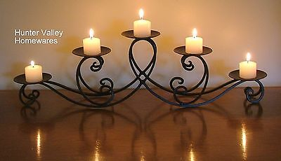Wrought Iron Candle Holder Black Rustic Country - Wedding - Teardrop 5 cup CF18