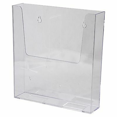 "Wall Mount Sign Brochure Holder 8.5x11"" Clear Plastic Top Quality AZM Display"