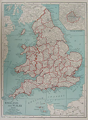 Vintage 1920 ENGLAND WALES Map Rand McNally Aqua Red Black White LONDON Vicinity