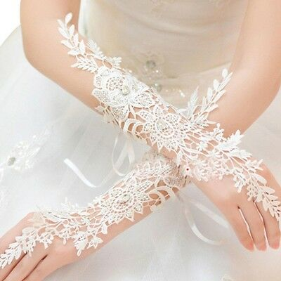 Women Floral Elegant Lace Rhinestone Long Fingerless Wedding Bridal Party Gloves