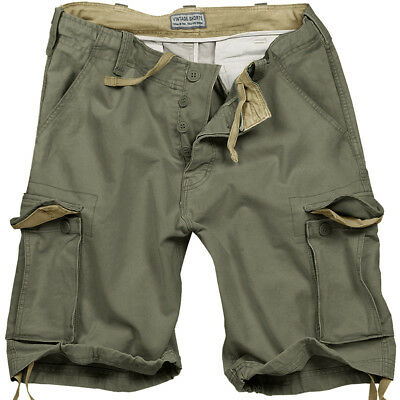 Surplus Army Style Mens Combat Vintage Cargo Shorts Washed Cotton Olive Green Od