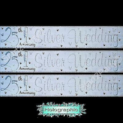 3 x 25TH ANNIVERSARY SILVER WEDDING BANNERS - PARTY DECORATIONS - 3 x 84cms/2.5m