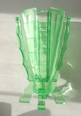 Art Deco Striking Green Uranium 'Bamboo' 1930s Glass Vase Frosted Polished