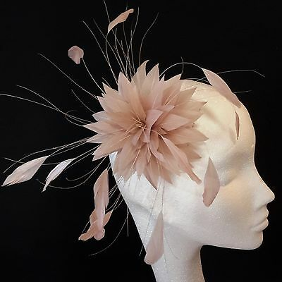 Nude Feather Fascinator for Races , Weddings , And Proms
