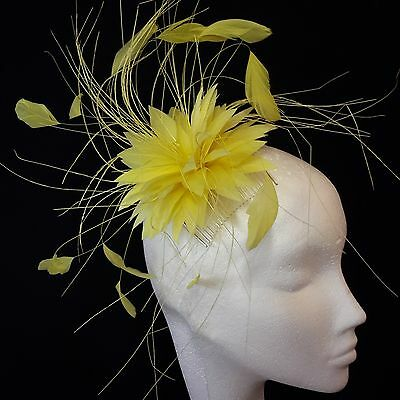 Lemon Yellow Feather Fascinator for Races , Weddings , And Proms