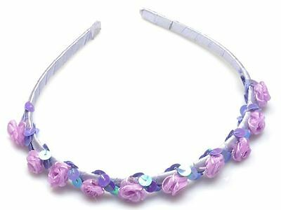 Lilac Rosebud Alice Band Hairband Headband Flower Girl