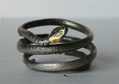 Ancient Roman Period Silver/Gilded Snake Coiled Ring 100 AD