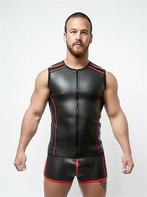 Neoprene Sleeveless T-shirt T Zip Black Red Neopren Ärmelloses T-Shirt NEU GAY