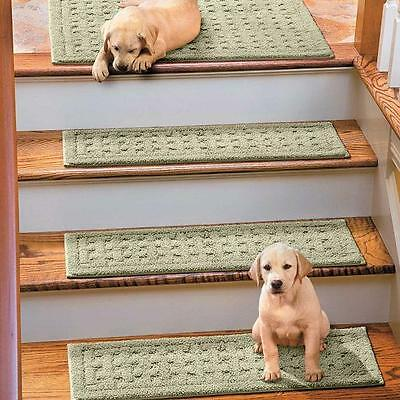 Non Slip Cotton Washable Set of 4 Stair Treads 9x29 Basketweave Pattern 7 Colors